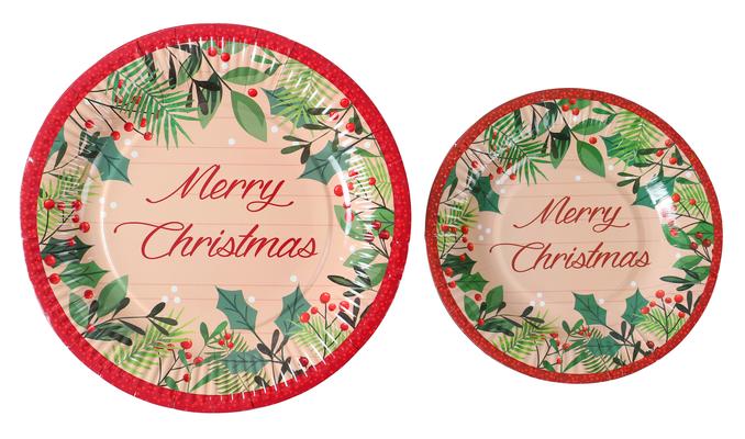 精美圣诞套装圣诞套装 纸杯纸盘纸巾 安全环保可降解