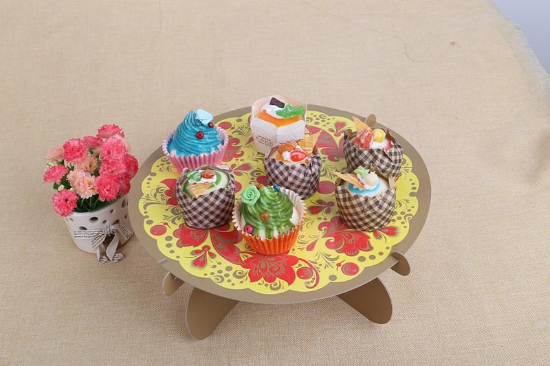 单层纸质蛋糕架 折叠单层生日点心架 生日派对纸质用品