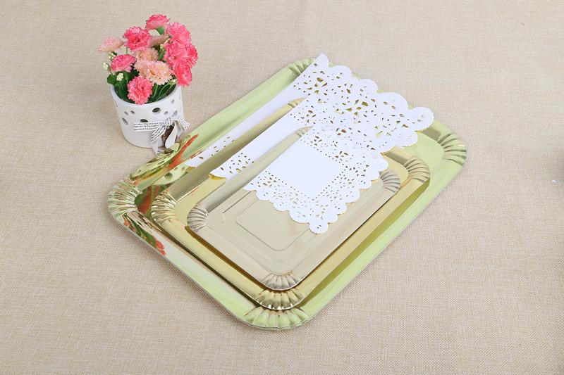 专业定制方形金色蛋糕纸盘  烘焙工具批发