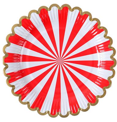 红色花边圆形餐盘