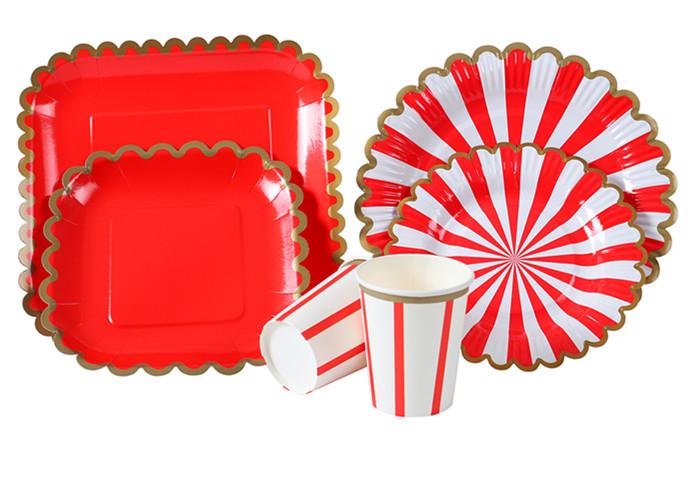 定制-印刷圆形 方形 派对纸盘 纸杯