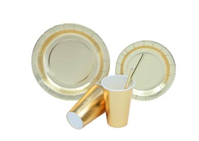 烫金定制-印刷圆形 方形 派对纸盘 纸杯 吸管