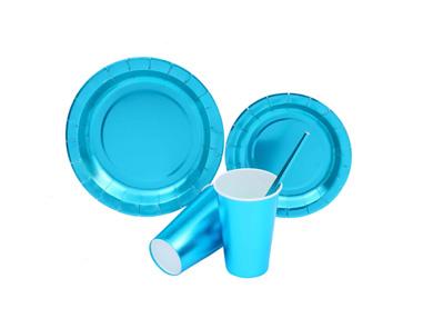 蓝色烫金 派对方形圆形花边纸盘纸杯吸管套装