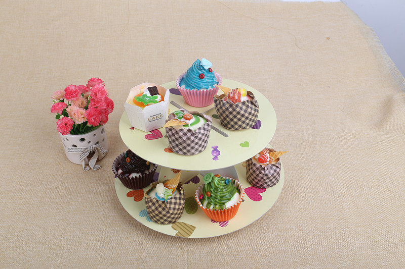 生日party蛋糕架 儿童派对双层纸质蛋糕架