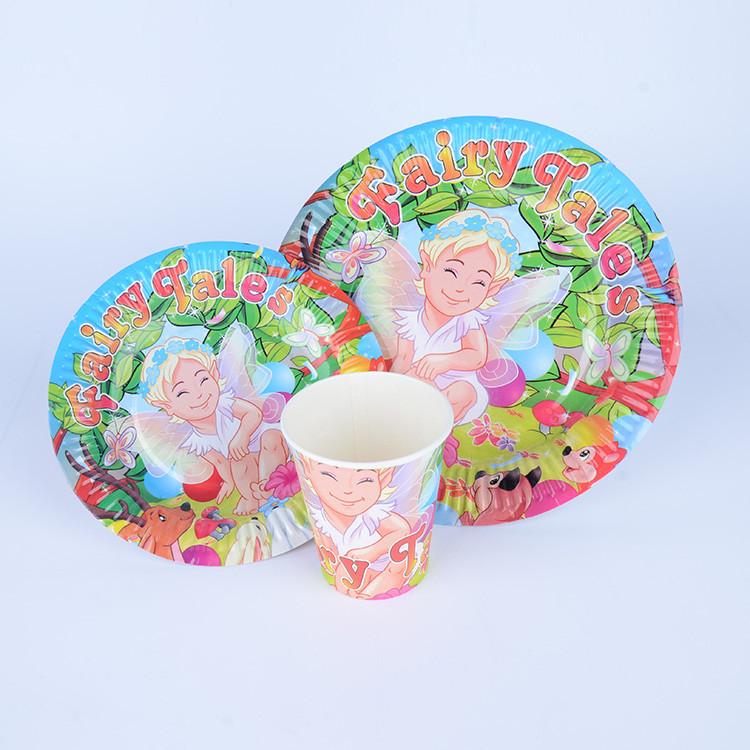 派对用品一次性卡通餐具套装 一次性纸杯纸盘 现货批发