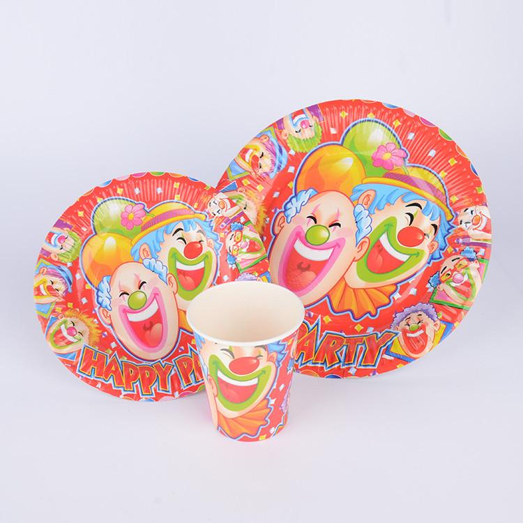 生日派对小丑餐具套装 一次性纸盘纸杯三件套