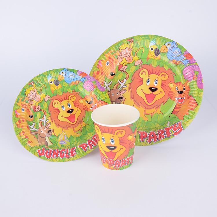 一次性餐具套装 节日派对通用纸碟纸杯套装 可定做批发