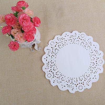 白色镂空防油纸 圆形花底纸 LFGB出口食品级花底纸垫