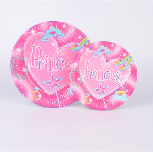 生日派对装扮餐具套餐 一次性粉色公主系纸盘纸杯纸巾纸碟