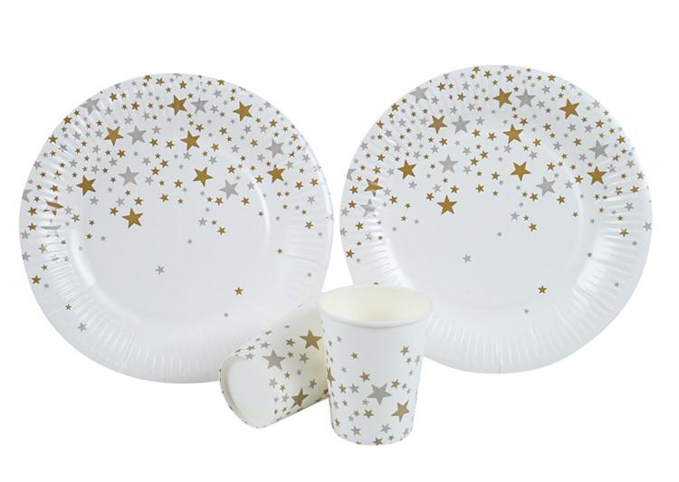 厂家定制-烫银派对套装纸杯纸盘