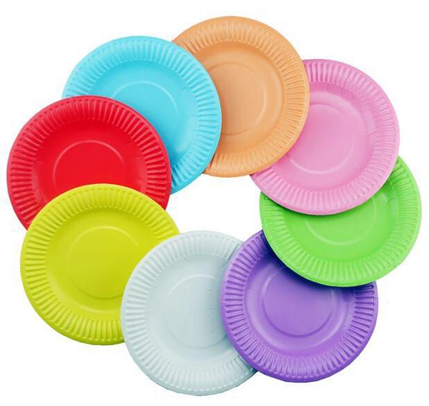 一次性彩色纸盘 水性油墨印刷 颜色款式多样化
