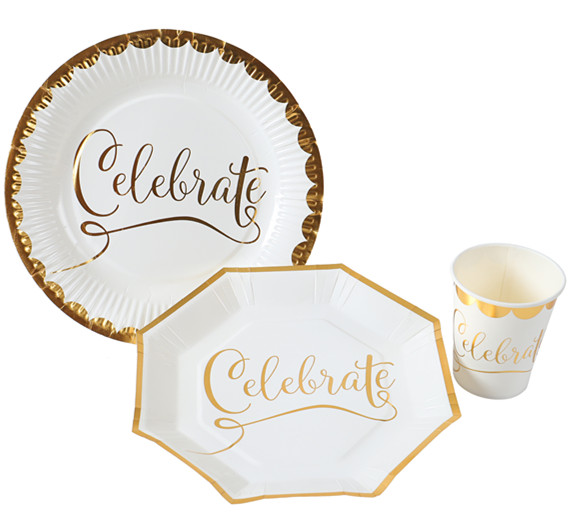 定制-烫金圆形多边性派对纸盘 纸杯