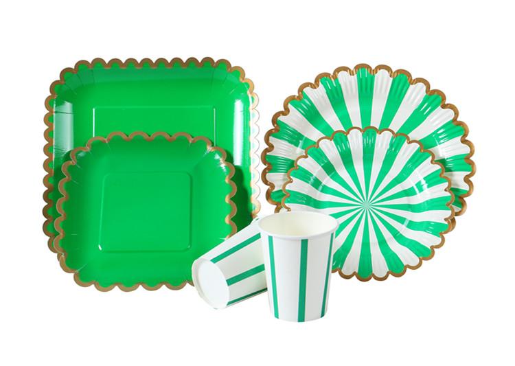 派对方形圆形花边纸盘纸杯套装