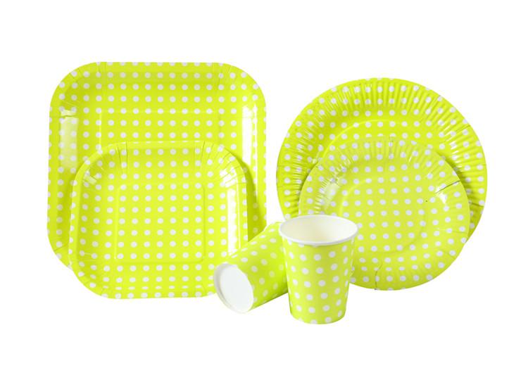 绿色定制 派对纸制套装餐盘纸杯