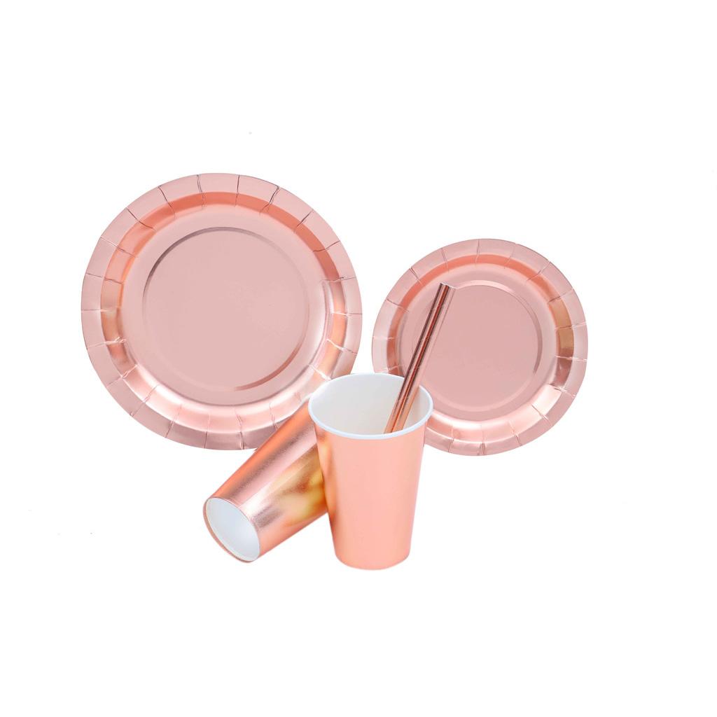 烫金定制 玫瑰金 派对纸制套装餐盘纸杯吸管